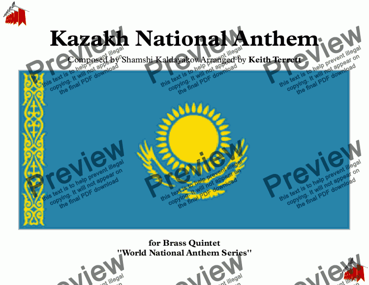 page one of Kazakh National Anthem for Brass Quintet (World National Anthem Series)