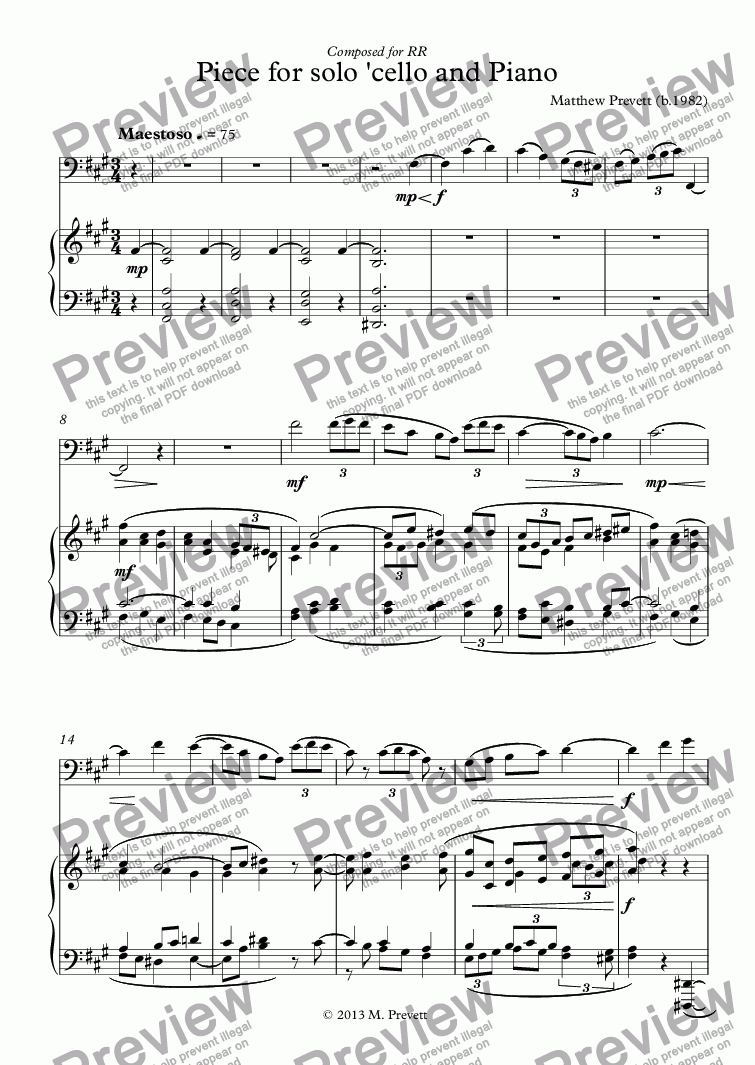 page one of Piece for solo 'cello and Piano