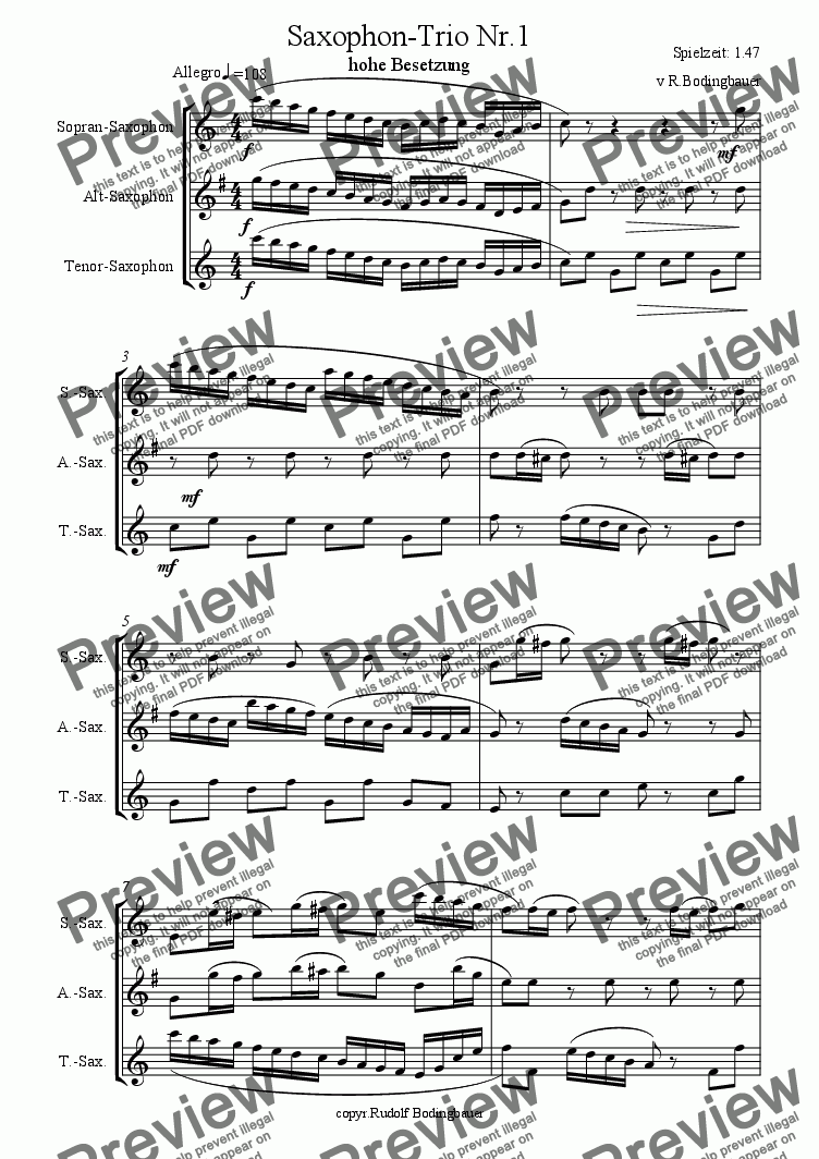 page one of Saxophon-Trio Nr. 1
