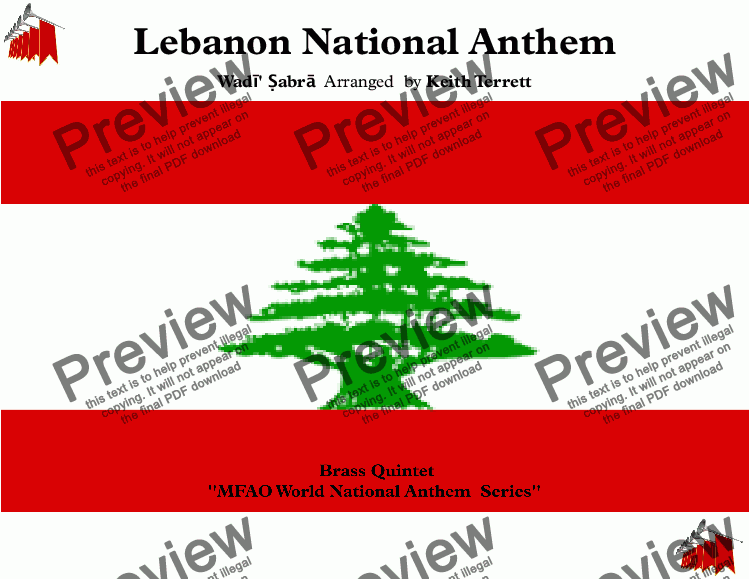 page one of Lebanese National Anthem (National Hymn of Lebanon) for Brass Quintet (MFAO World National Anthem Series)