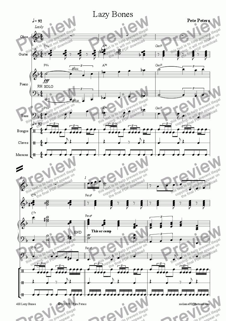 page one of Lazy Bones [Latin] Rec or Flute ect