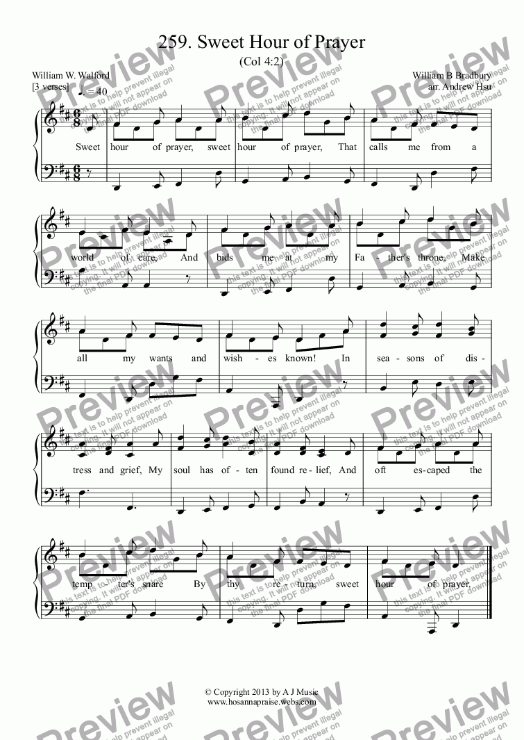 page one of Sweet Hour of Prayer - Easy Piano 259ASALTTEXT
