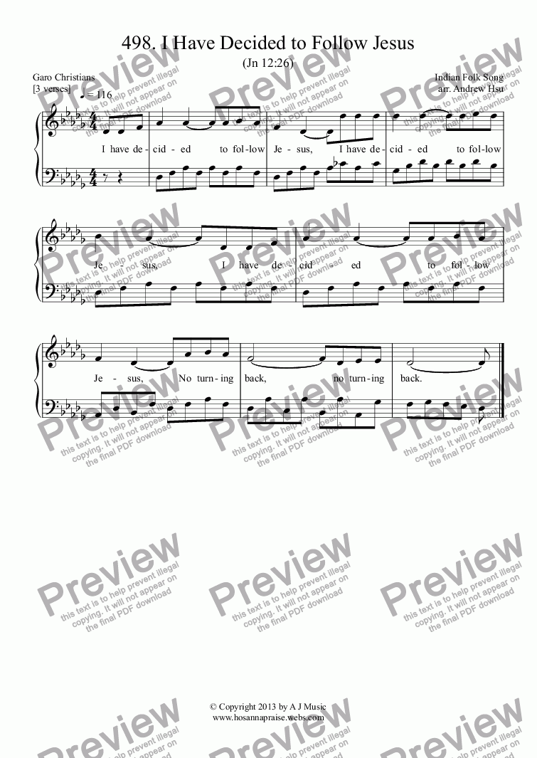 I Have Decided To Follow Jesus Easy Piano 498 Sheet Music Pdf File