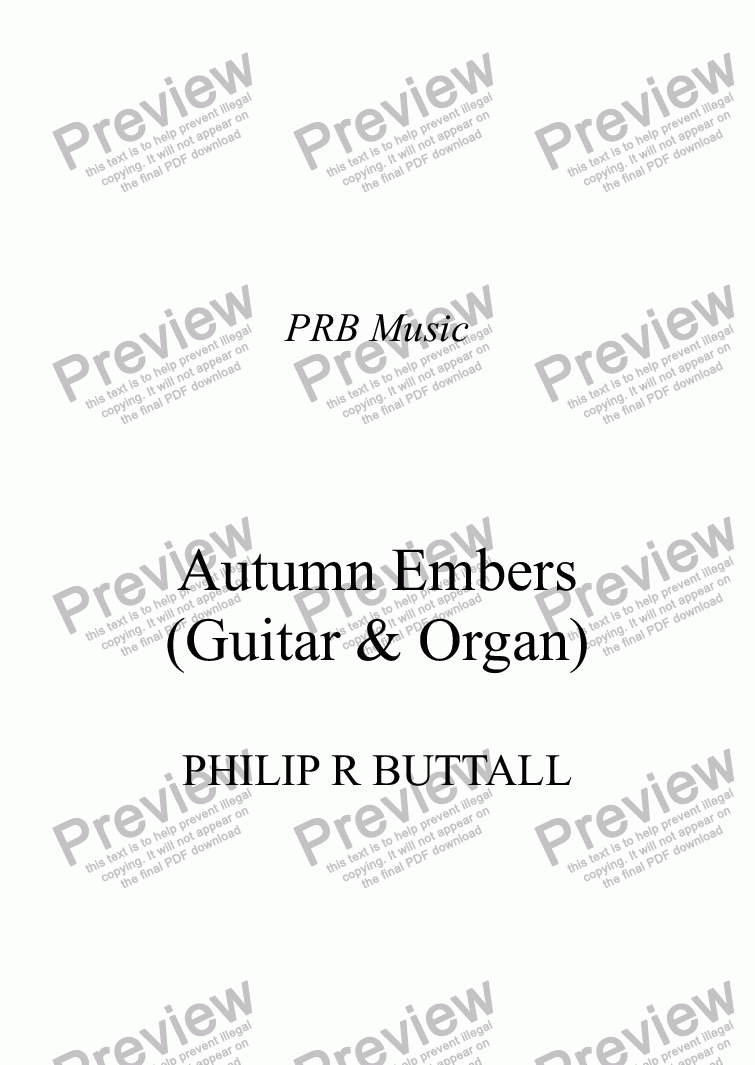 page one of Autumn Embers (Guitar & Organ)