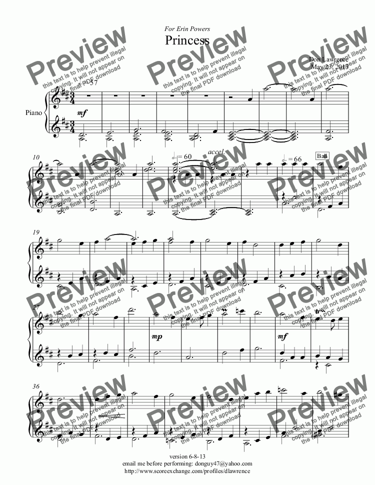 page one of Princess (piano)