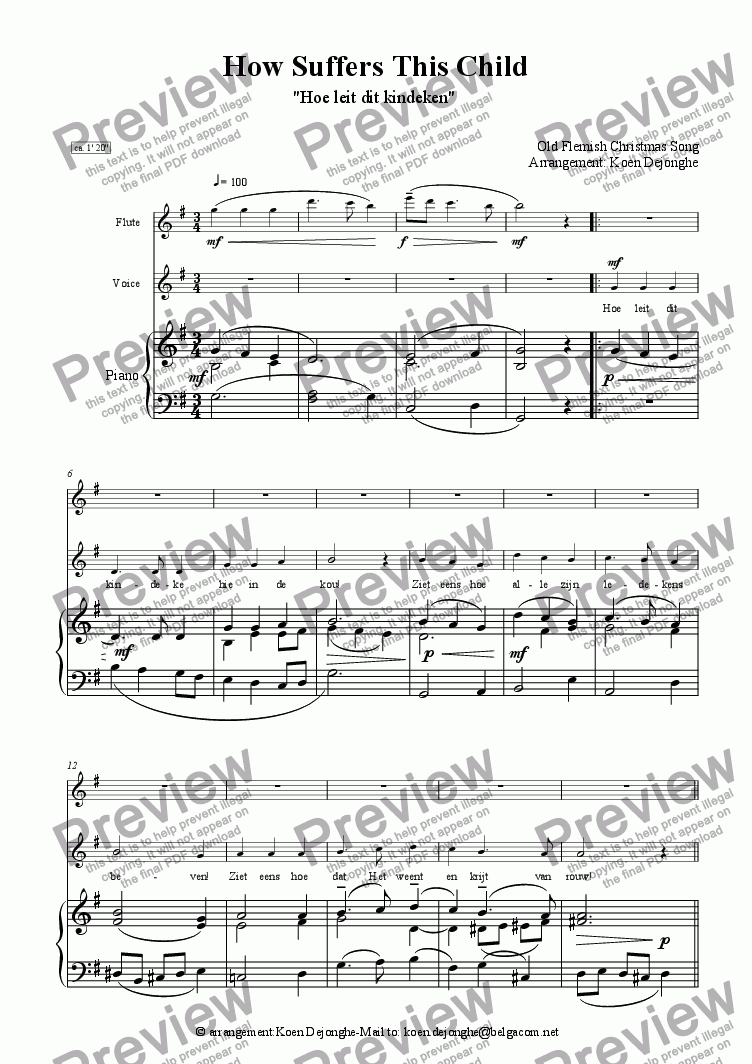 "page one of ""An Old Flemish Christmas Song for voice and piano (Flute ad lib.)"""