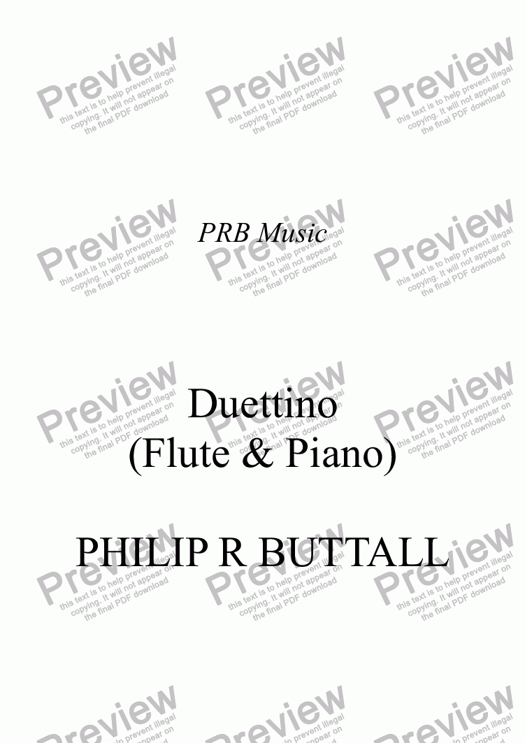 page one of Duettino for Flute & Piano