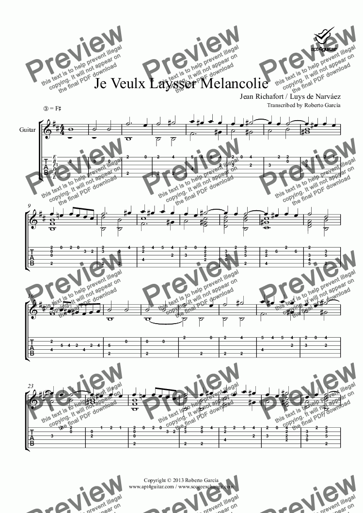 page one of Je Veulx Laysser Melancolie for solo guitar