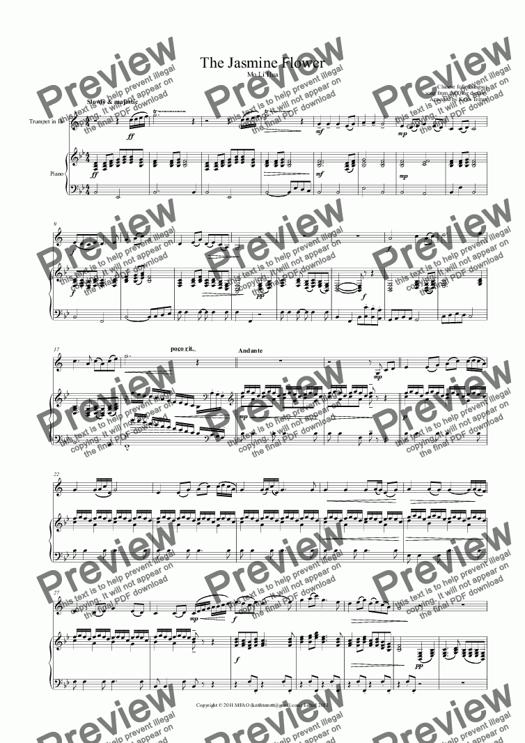 page one of Jasmine Flower (The) for Bb Trumpet & Piano (Pro-version)