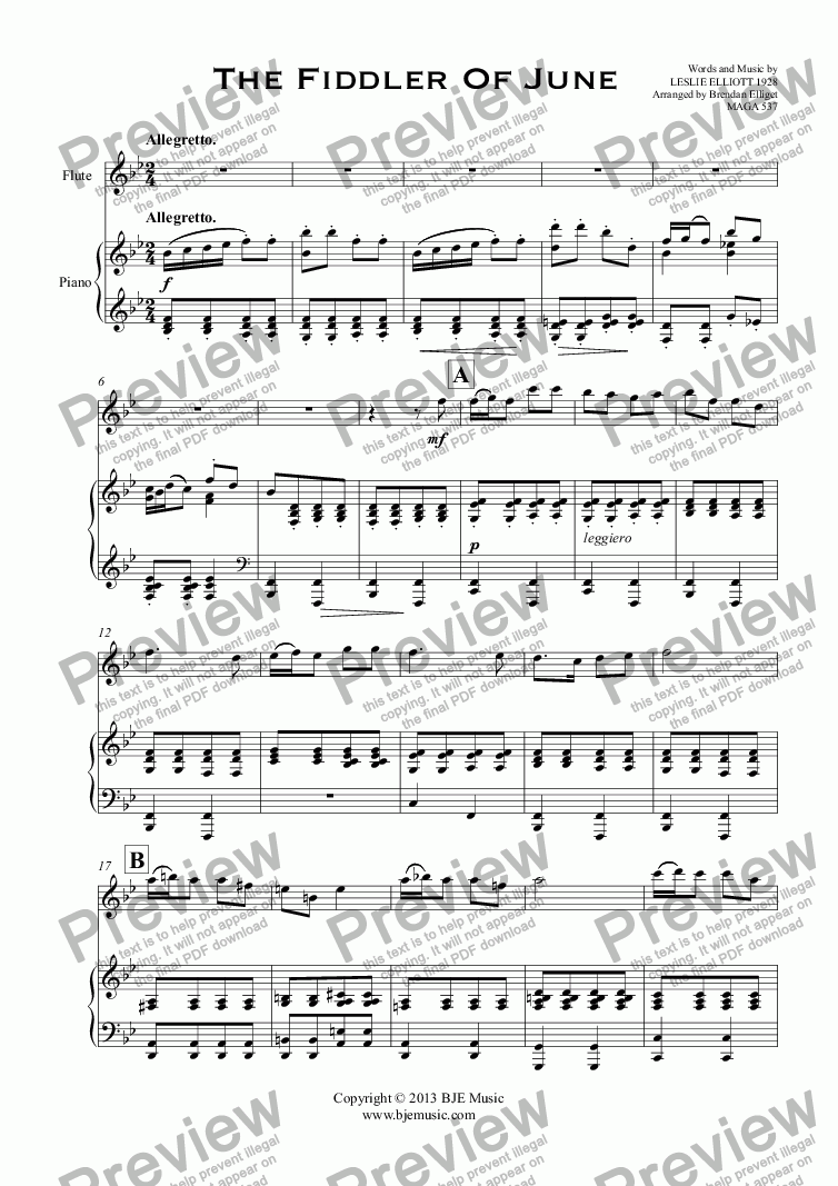 page one of The Fiddler Of June (Flute Solo with Piano)