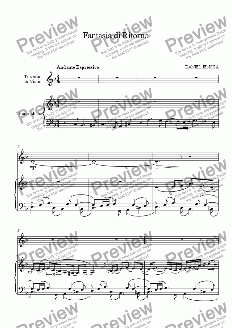 page one of FANTASIA DI RITORNO for Flute or Violin and Harpsichord