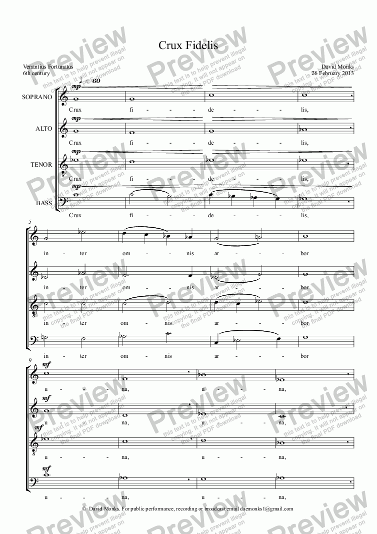 page one of Crux Fidelis SATB