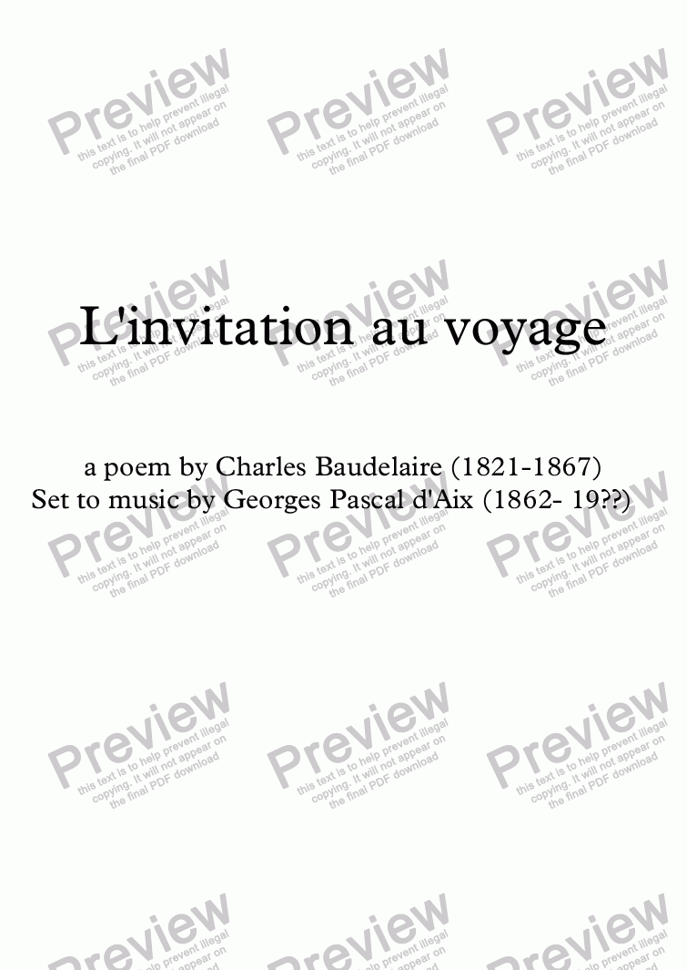 Linvitation au voyage g pascal daix baudelaire sheet music which method of viewing music should i use stopboris Gallery