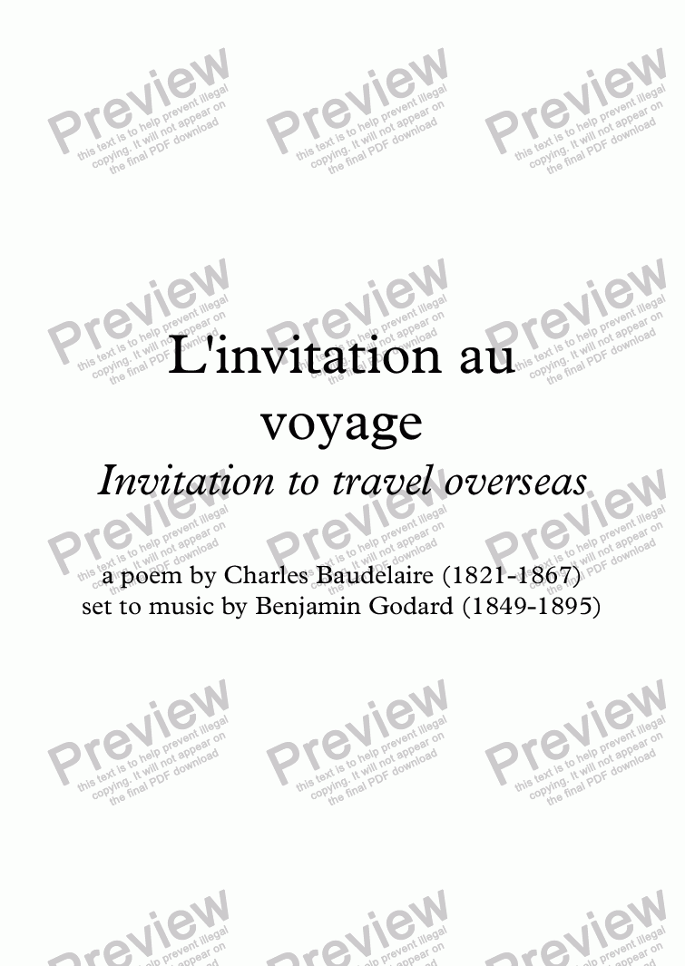 Linvitation au voyage b godard baudelaire sheet music pdf file which method of viewing music should i use stopboris Gallery