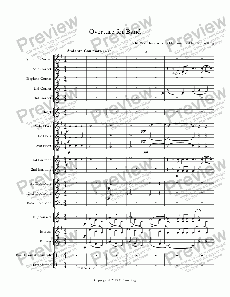 page one of Overture for Band
