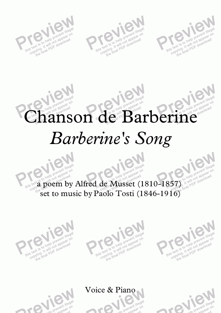 page one of Chanson de Barberine (Tosti / Musset)