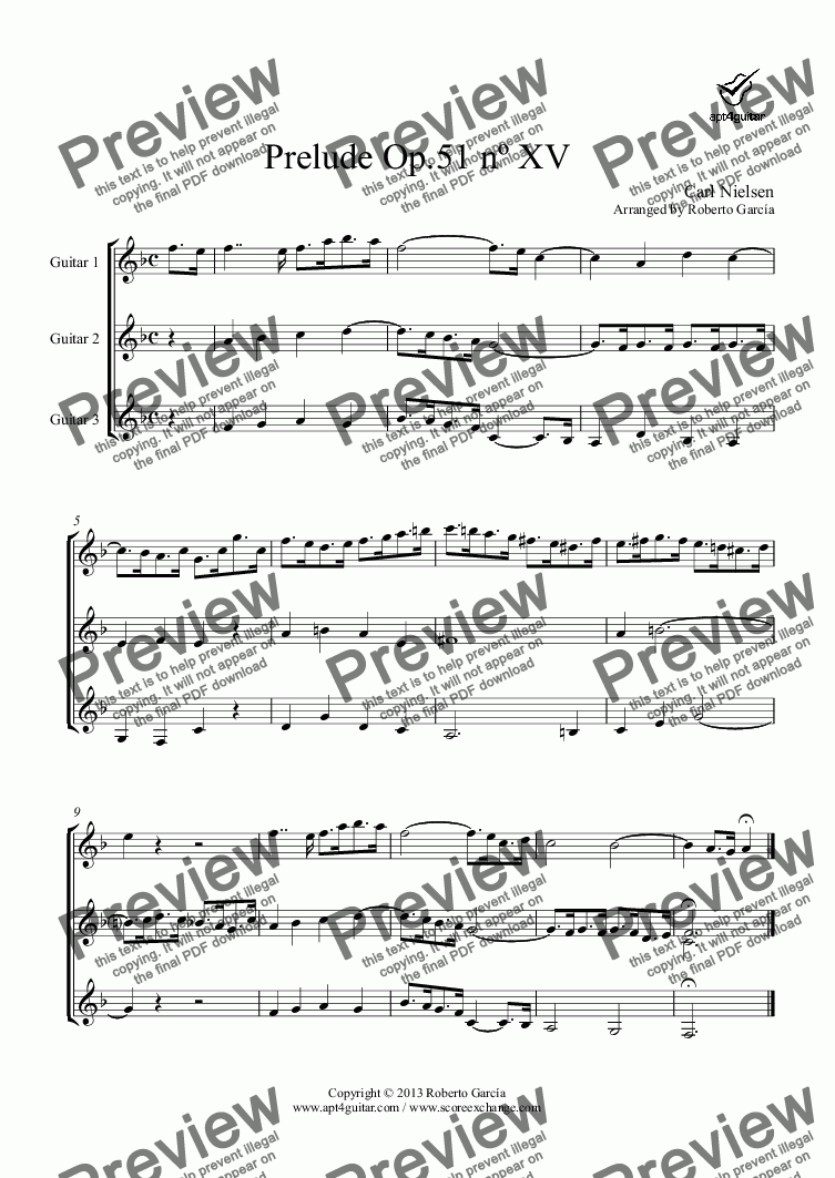 page one of Prelude Op.51 nº XV for guitar trio