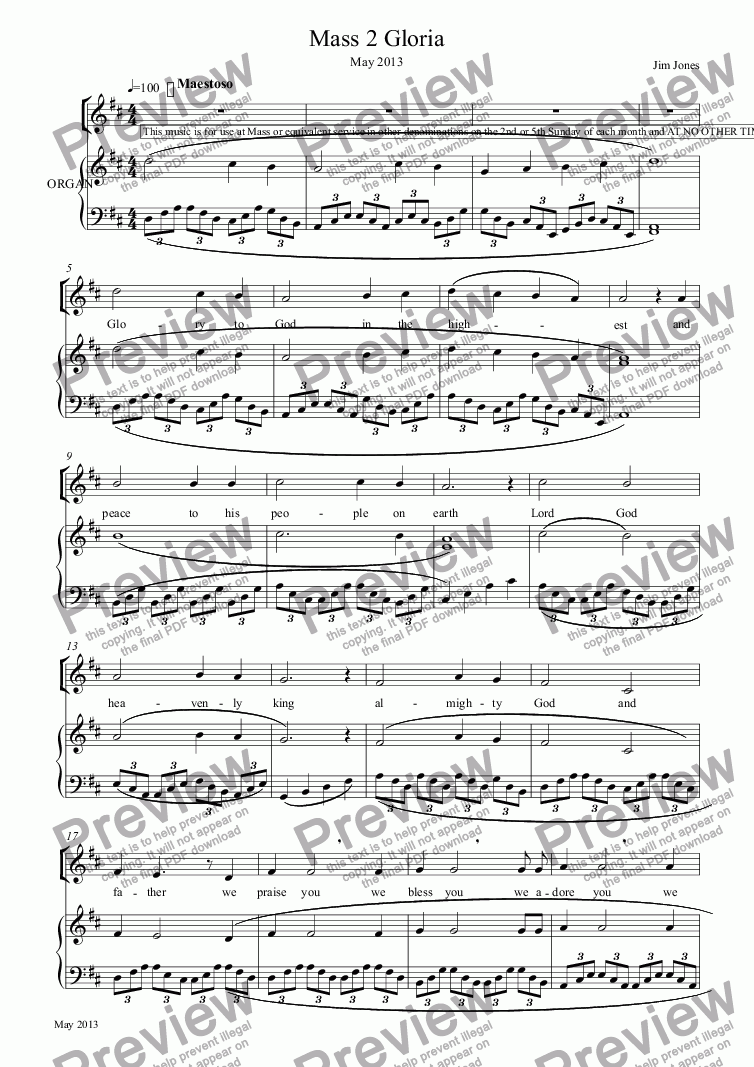 page one of Mass 2 Gloria