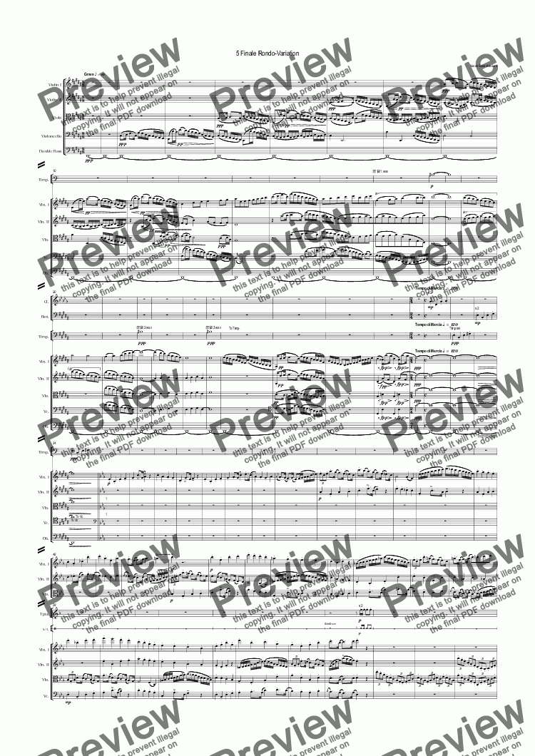 page one of Symphony no.5 in E-Flat Major:5 Finale