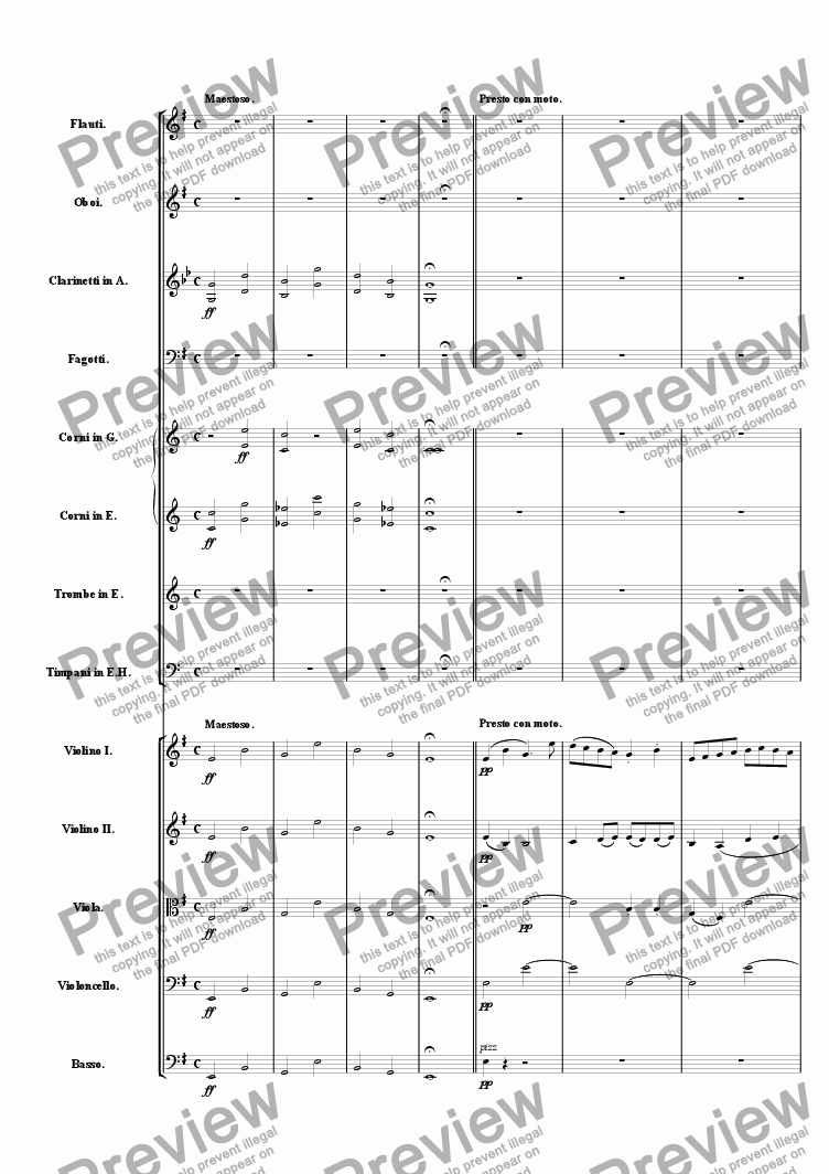 page one of Symphony One in E Minor: Movement 1