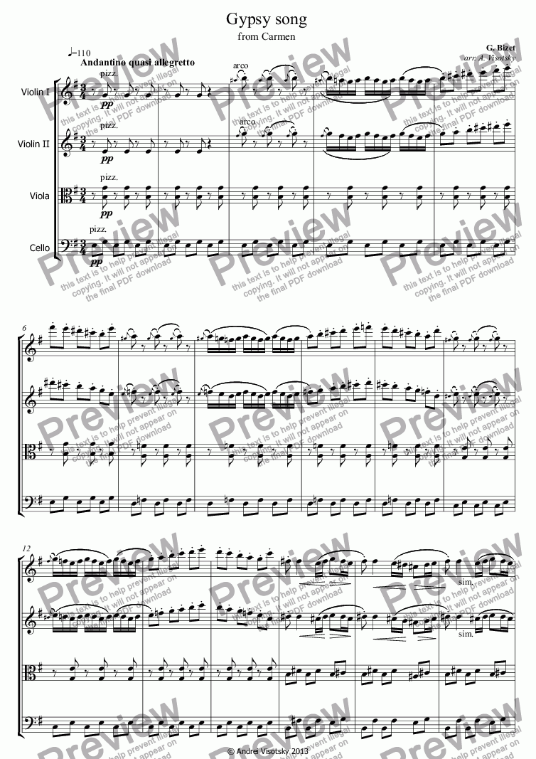 page one of Gypsy song from Carmen