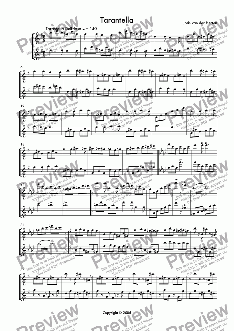 page one of Tarantella (flute duet)