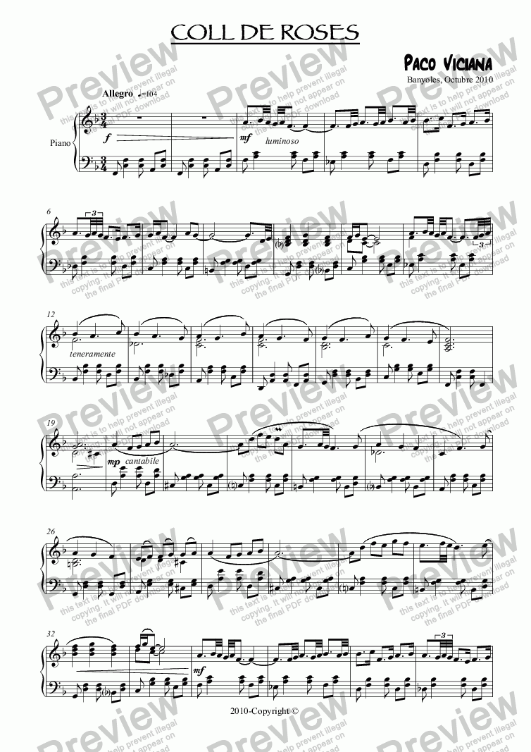page one of 253-Coll de Roses (Principal theme) (piano version)