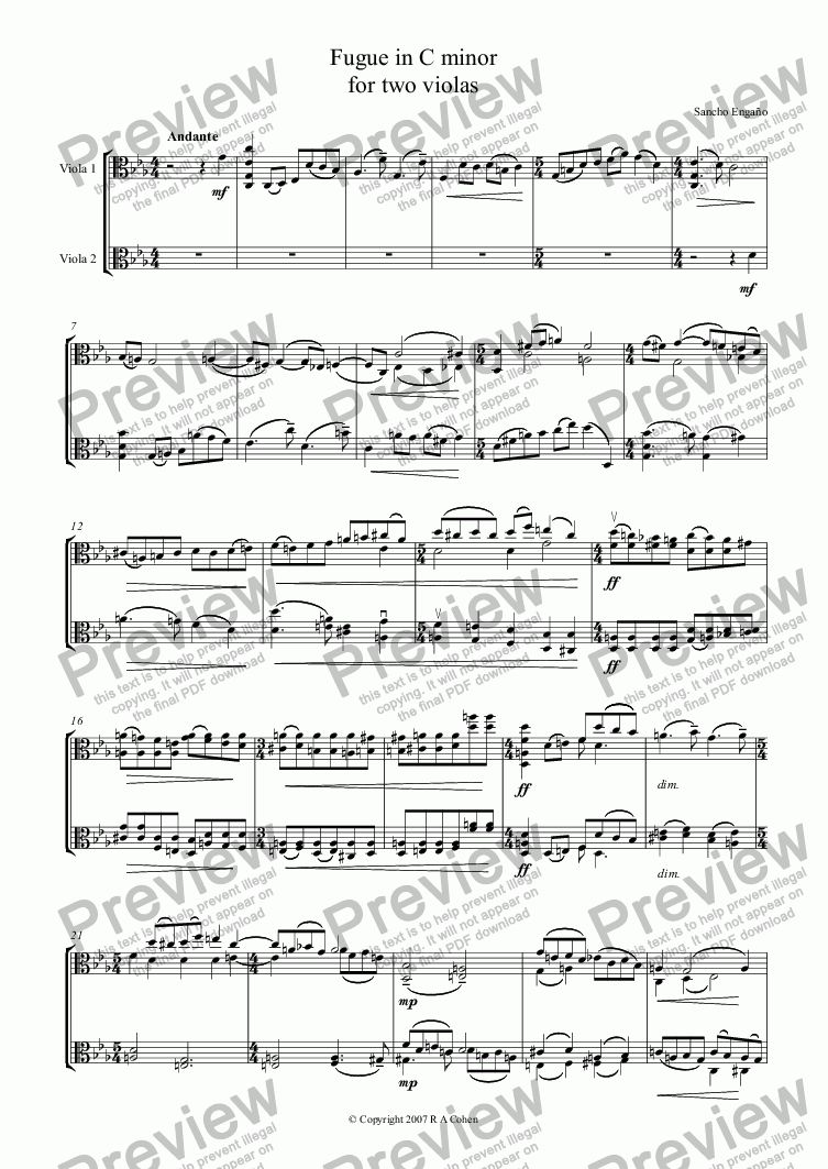 page one of FUGUE in C minor - for two violas