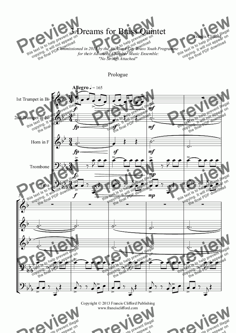 page one of 3 Dreams for Brass Quintet (Complete Score)