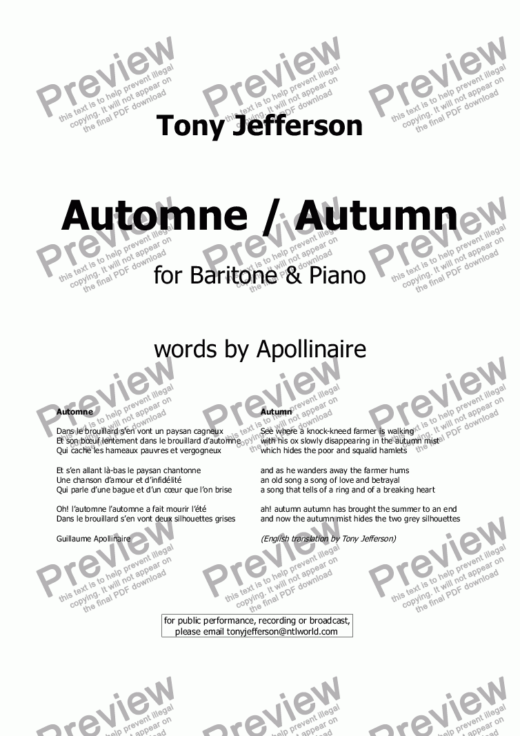 page one of Automne