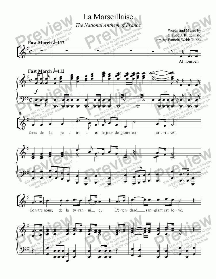 page one of La Marseillaise (L'ISLE), national anthem of France, for piano and optional vocal, arr. by Pamela Webb Tubbs