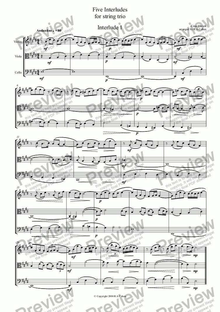 page one of Franck - FIVE INTERLUDES - for string trio