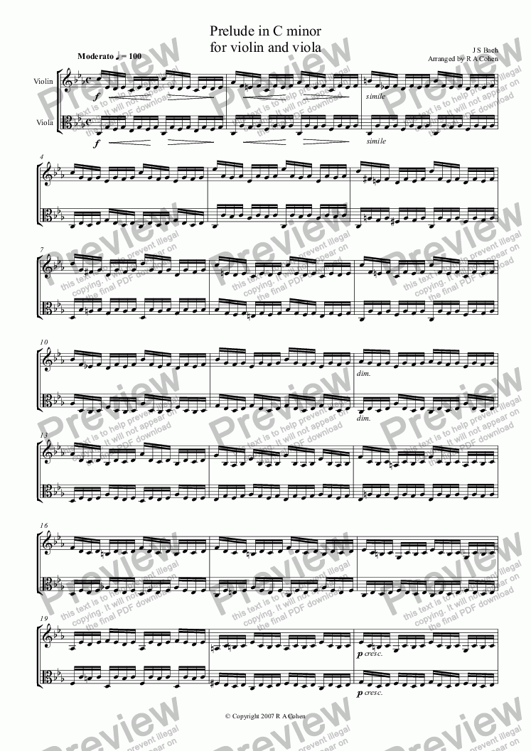 page one of Bach - PRELUDE in C MINOR - for violin and viola