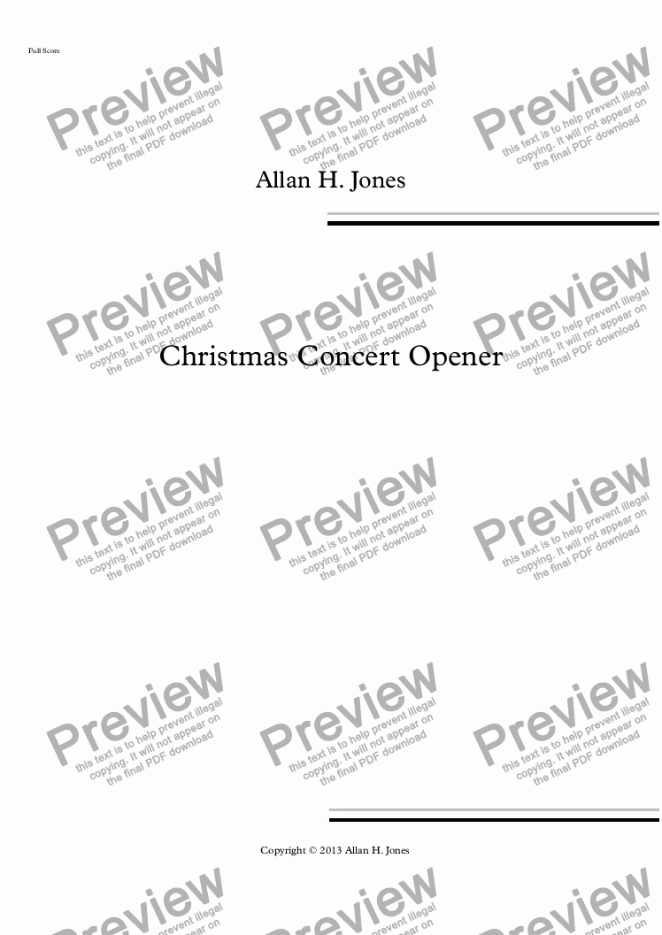 page one of Christmas Concert Opener - for Orchestra