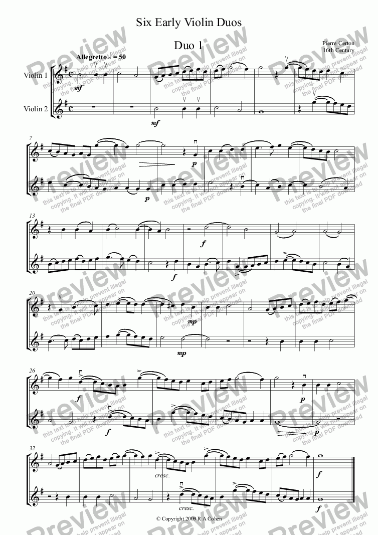 page one of Six Early Violin Duos