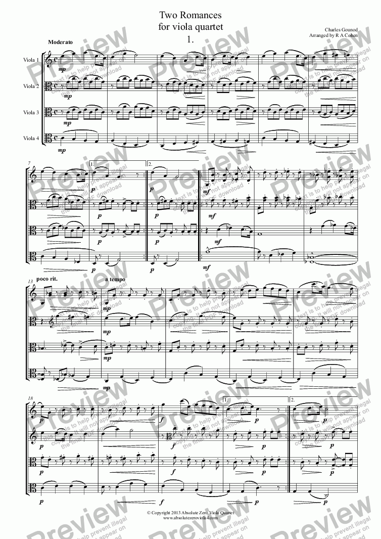 page one of Gounod - TWO ROMANCES -  for viola quartet