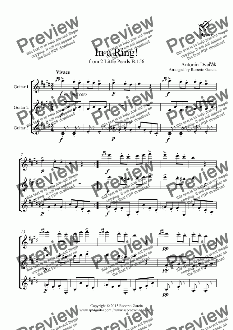 page one of In a Ring! for guitar trio