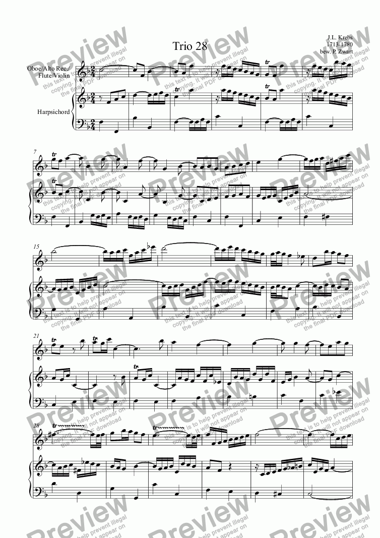 page one of Trio 28 (Krebs) oboe/flute/violin