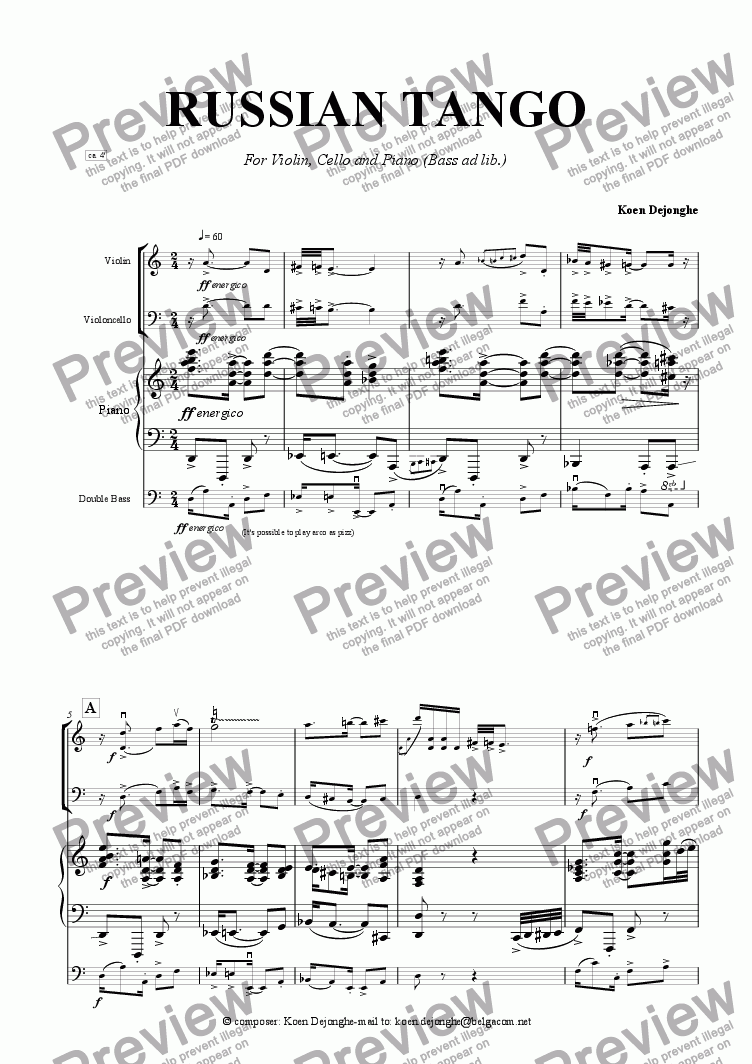 "page one of ""A Russian Tango For Pianotrio (bass ad lib.)"""