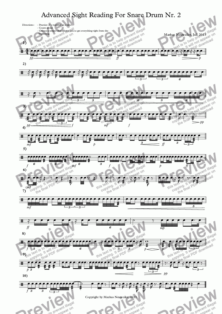 Advanced Sight Reading For Snare Drum Nr  2 for Solo instrument (Snare  Drum) by Markus Neuweiler, Juli 2013 - Sheet Music PDF file to download