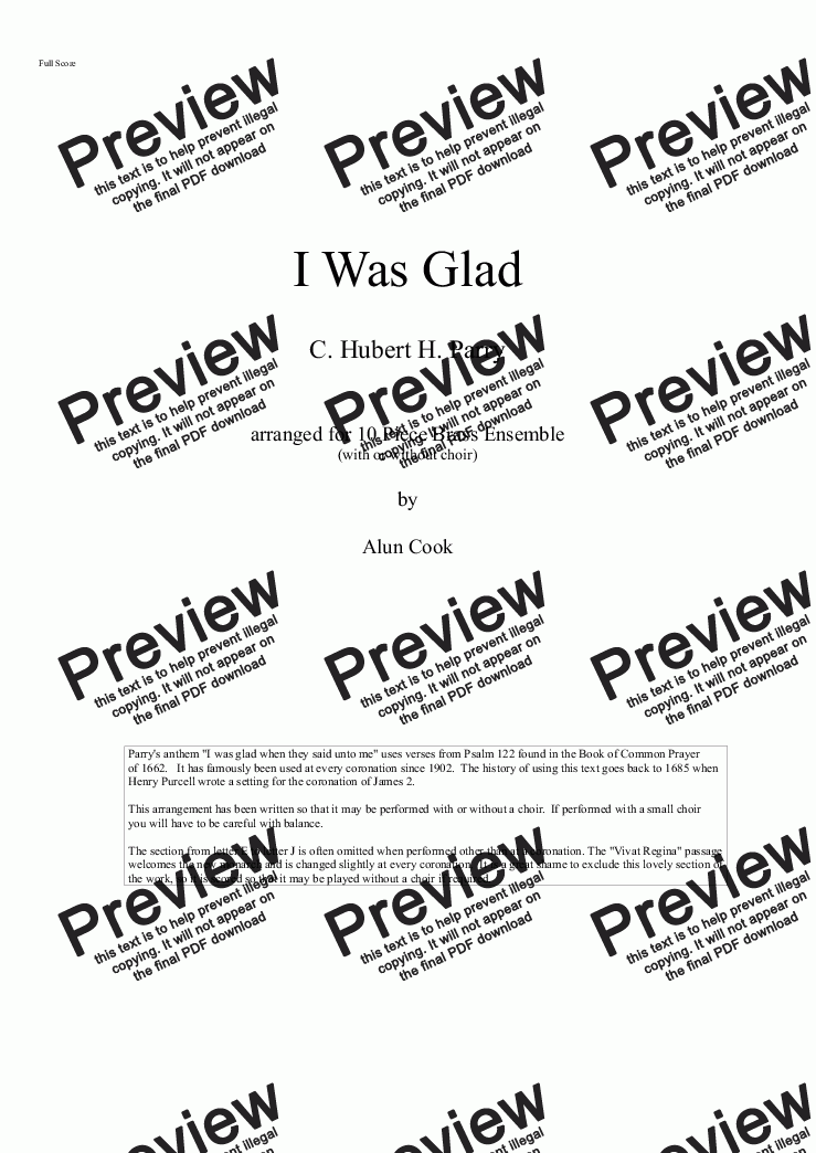 page one of I Was Glad (10 Piece Brass - opt. Choir)ASALTTEXT