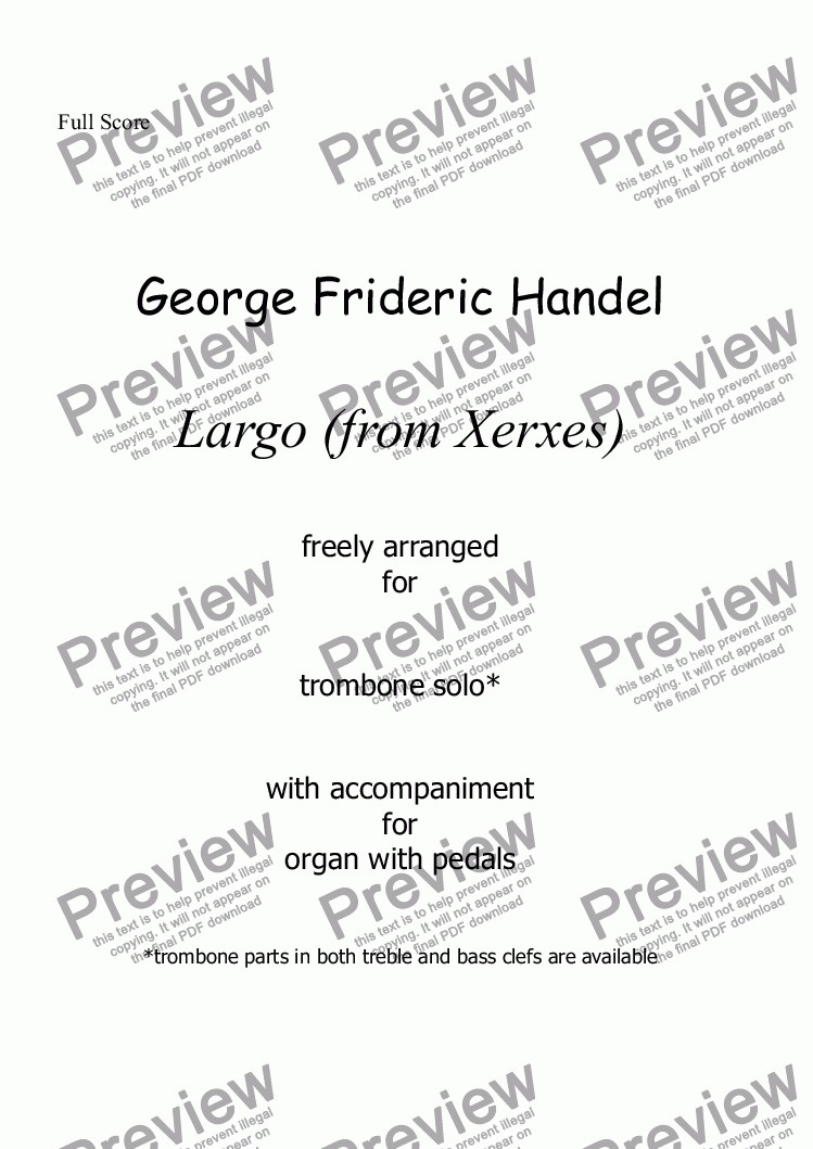 page one of Handel - Largo for trombone and organ