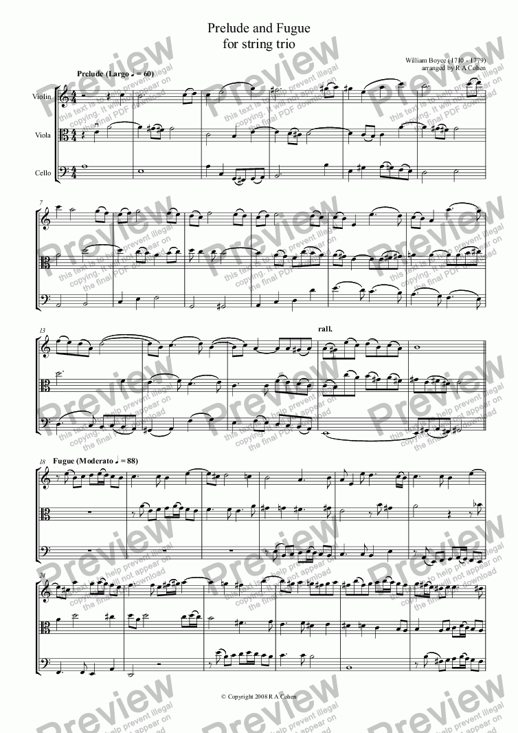 page one of Boyce - PRELUDE and FUGUE - for string trio