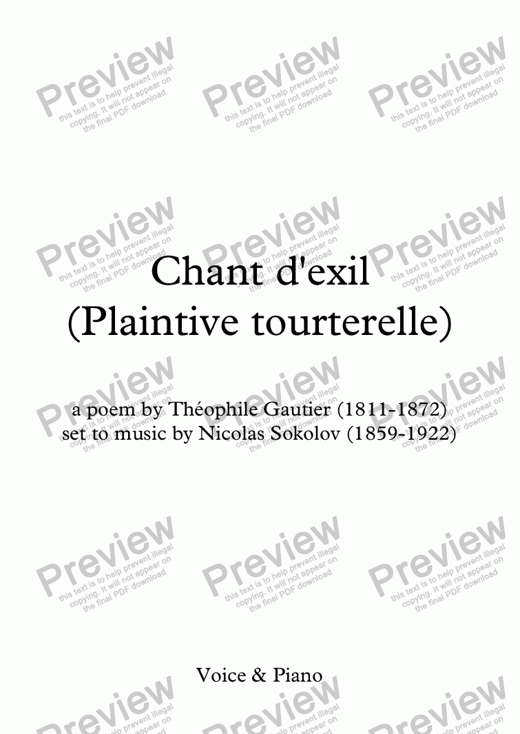 page one of Plaintive tourterelle (Chant d'exil)(Sokolov / Th. Gautier)
