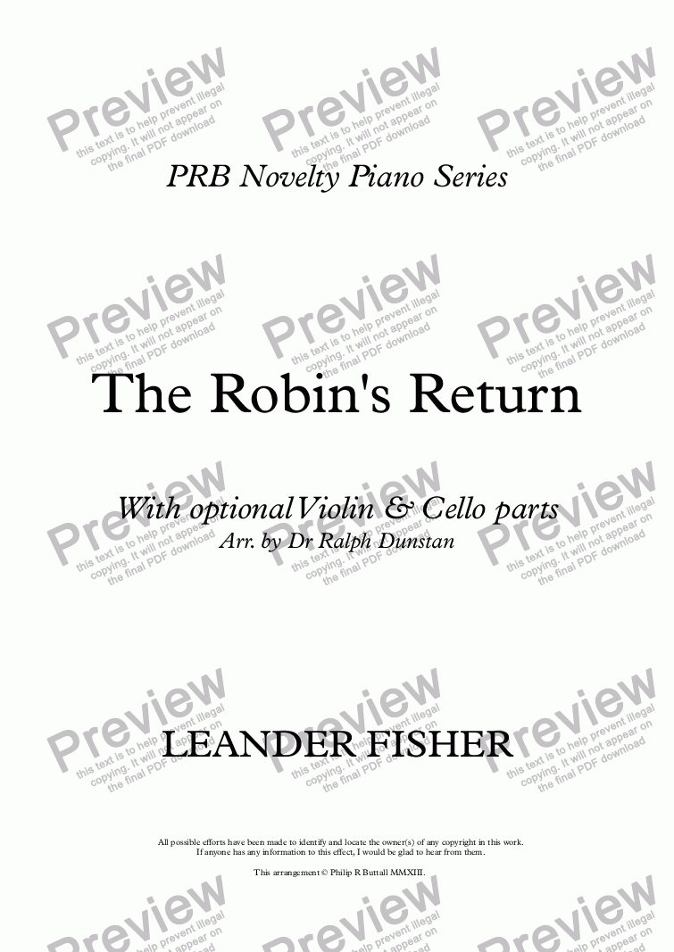 page one of PRB Novelty Piano Series: The Robin's Return (Piano Trio)