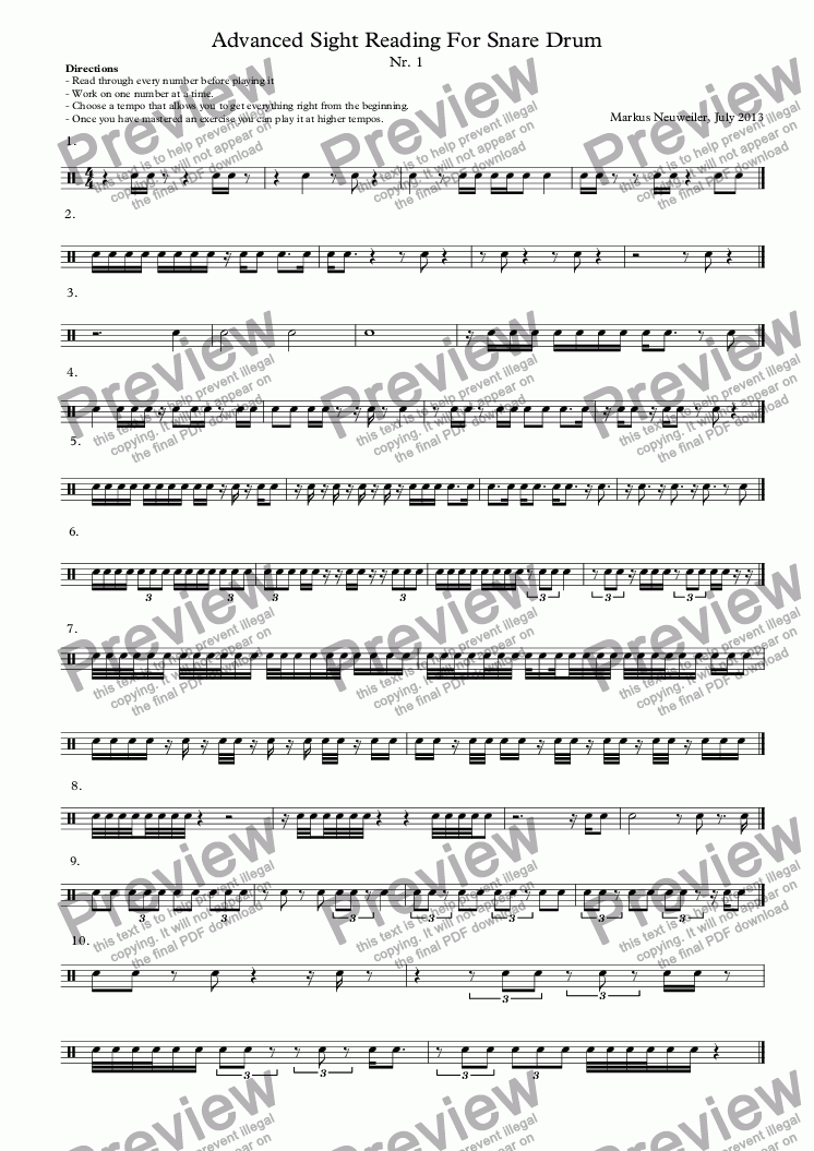 Advanced Sight Reading For Snare Drum Nr  1 for Solo instrument (Snare  Drum) by Markus Neuweiler, July 2013 - Sheet Music PDF file to download