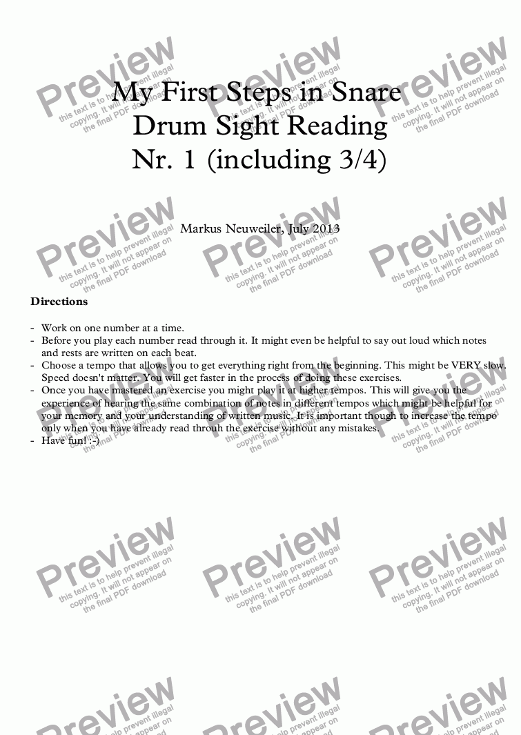 page one of My First Steps in Snare Drum Sight Reading  Nr. 1 (including 3/4)