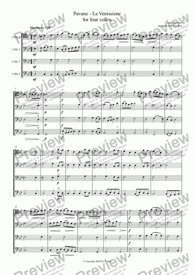 page one of Gervaise - PAVANE - LA VENISSIENE - for four cellos