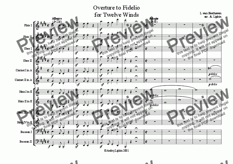 page one of Fidelio for 12 winds
