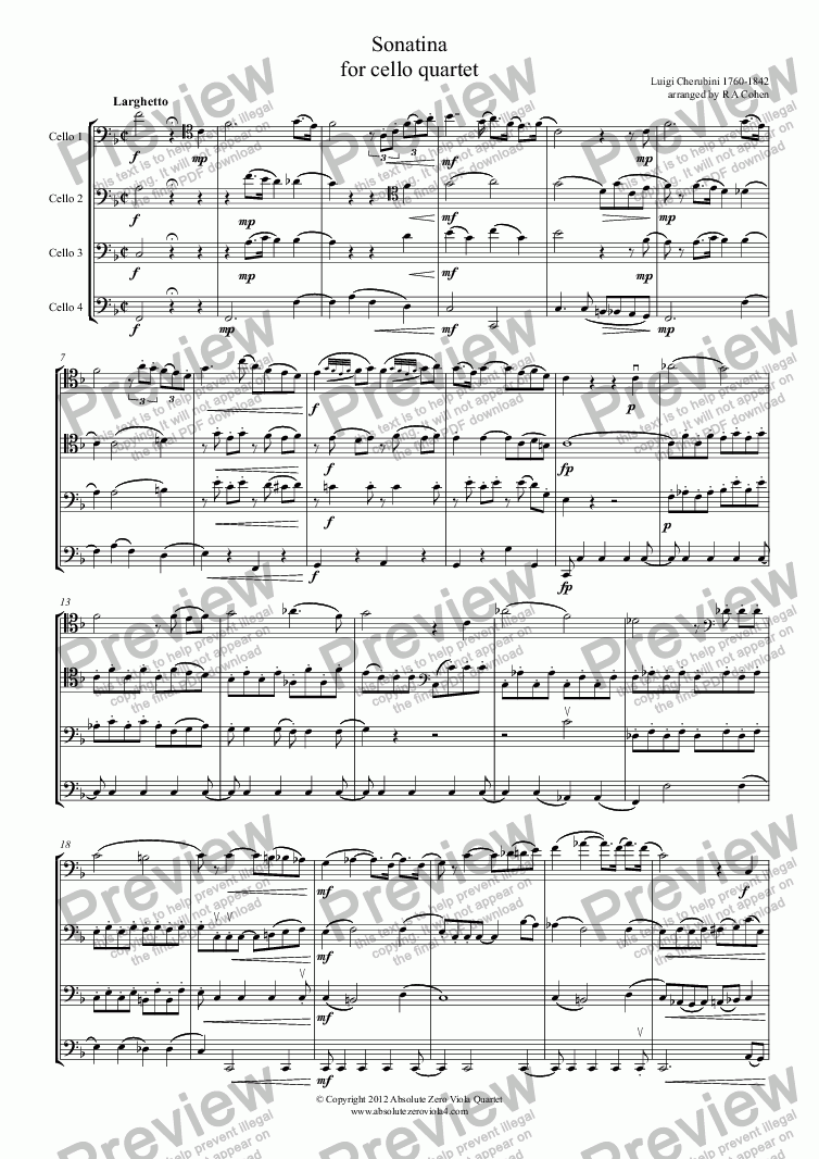 page one of Cherubini - SONATINA - for cello quartet